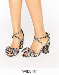 Asos Hundred Wide Fit Bow Sandals Jacquard Multi
