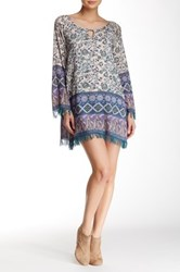En Creme Long Sleeve Frayed Fringe Short Dress Multi