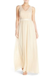 Women's Paper Crown By Lauren Conrad 'Madeline' Shimmer Bodice Gown Vintage Gold Cream Chiffon