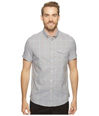 Kenneth Cole Short Sleeve Grindle Check Shirt Heather Grey Combo Men's Clothing Black