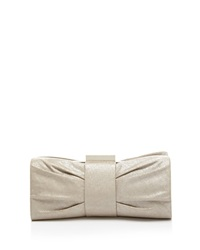 Sondra Roberts Clutch Metallic Pleated Bow Silver