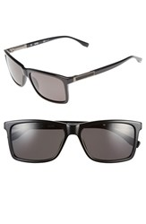 Men's Boss '0704Ps' 57Mm Polarized Sunglasses Black Dark Ruthen Grey