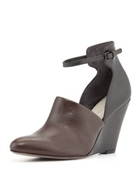 Pour La Victoire Lada Mid Heel Wedge Brown Black