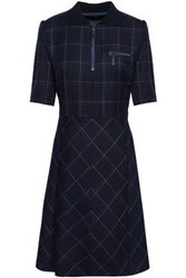 Piazza Sempione Woman Checked Wool Blend Dress Navy