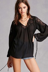 Forever 21 Sheer Floral Lace Peasant Top