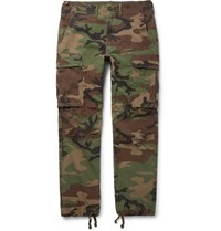 Rrl Camouflage Print Cotton Ripstop Cargo Trousers Army Green
