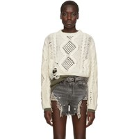 Amiri Off White Cropped Multipoint Crew Sweater
