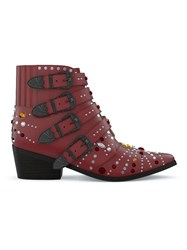 Toga Pulla Elvis Crystal Boots Red