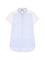 No.21 Gingham And Lace Short Sleeved Shirt