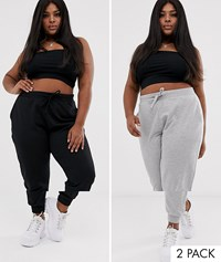 Asos Design Curve Basic Jogger With Tie 2 Pack Save Multi