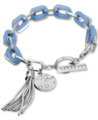 Guess Silver Tone Pave Charm And Blue Link Toggle Bracelet