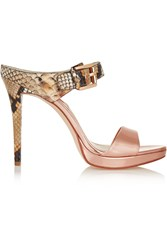Michael Michael Kors Beverly Snake Effect And Metallic Leather Mules