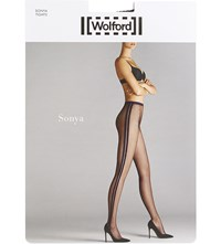 Wolford Sonya Striped Netted Tights Black