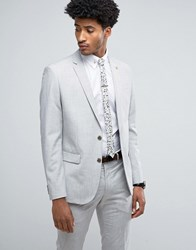 Farah Skinny Suit Jacket In Crosshatch Gray