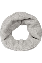 N.Peal Cashmere Cable Knit Cashmere Infinity Scarf Gray