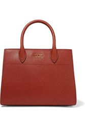 Prada Bibliotheque Textured Leather Tote Brick