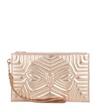 596f3c1e64f9e5 Ted Baker Leather Verda Bow Clutch Bag Pink