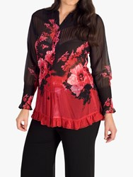 Chesca Floral Print Crush Pleat Blouse Ruby Black
