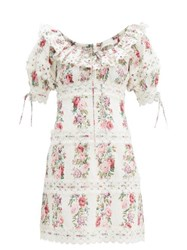Zimmermann Honour Floral Print Pintucked Cotton Poplin Dress Cream