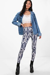 Boohoo Tie Dye Leggings Blue