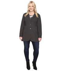 Nic Zoe Plus Size Seamed Riding Jacket Phantom Heather Women's Coat Black