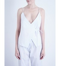 Three Graces London Clara Cotton Camisole Baby Blue White