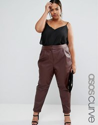 Asos Curve Leather Look Peg Trousers Oxblood Red