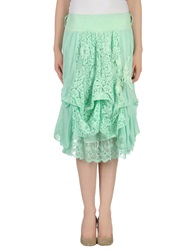 Gold Case Knee Length Skirts Light Green