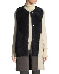 Karl Donoghue Colorblock Lamb Shearling Long Vest Pink Navy Gray