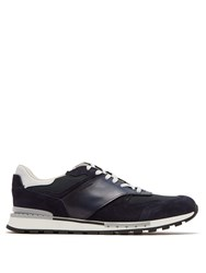 Berluti Run Track Leather And Suede Trainers Navy Multi
