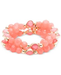 Nine West Beaded Metallic Stretch Bracelet Pink