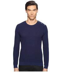 The Kooples Cotton Pearl Stitch Sweater Blue Men's Sweater