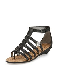 Sam Edelman Donna Leather Gladiator Demi Wedge Sandal Black
