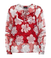 Armani Collezioni Sheer Floral Blouse Red