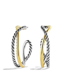 David Yurman Crossover Hoop Earrings With Gold Silver Yellow Gold