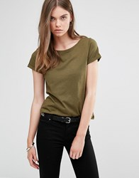 Jdy J.D.Y Wide Neck T Shirt Dark Olive Green