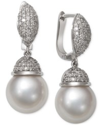 Macy's Cultured South Sea White Pearl 9Mm And Diamond 5 8 Ct. T.W. Earrings In 14K White Gold