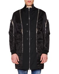 Dsquared Oversized Jacket W Allover Zip Details Black Men's