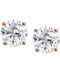 Giani Bernini Cubic Zirconia Sterling Silver Stud Earrings Created For Macy's Rose Gold