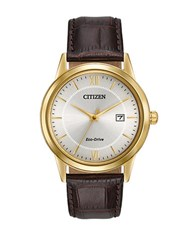 Citizen Strap Collection Goldtone Finished Stainless Steel Steel Leather Strap Watch