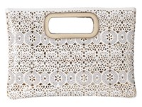 Jessica Mcclintock Tiffany Perforated Handle Clutch White Clutch Handbags