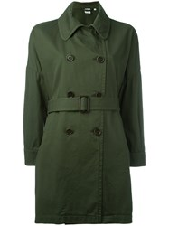 Aspesi Belted Trench Coat Green
