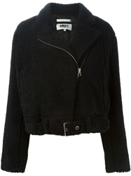 Mm6 Maison Margiela Artificial Fur Biker Jacket Black