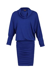 Jolie Moi Cowl Neck Batwing Sleeved Tunic Royal Blue