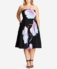 City Chic Trendy Plus Size Strapless Fit And Flare Dress Black
