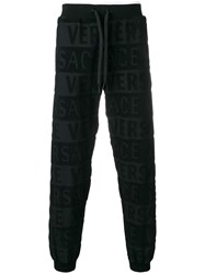 Versace Textured Logo Track Pants Black