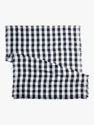 J.Crew Double Sided Gingham Scarf Navy Ivory