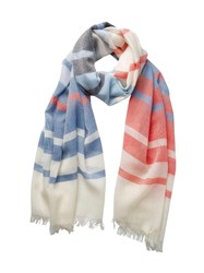 Johnstons Of Elgin Extra Fine Merino Shaded Stripe Scarf White