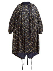 Undercover Floral Print Hooded Cotton Parka Navy Multi