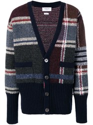 Thom Browne 4 Bar Oversized Plaid Cardigan Red